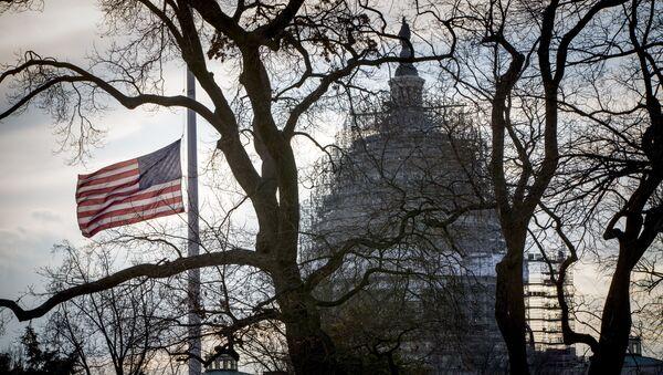 Американский флаг перед Капитолием в Вашингтоне. АРхивное фото