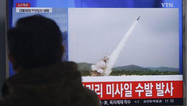 Кадры видео с запуска КНДР ракет малой дальности. Архивное фото