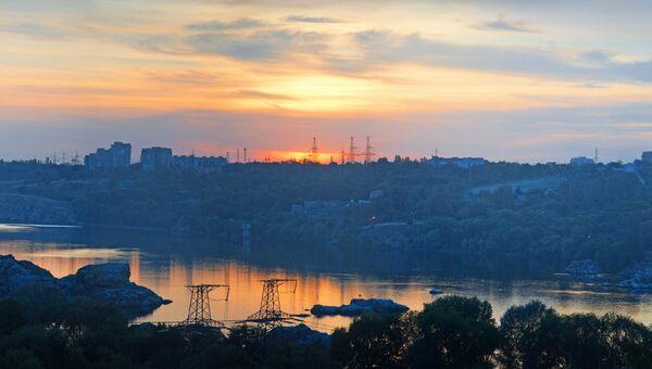 Вид на Запорожье, Украина, архивное фото