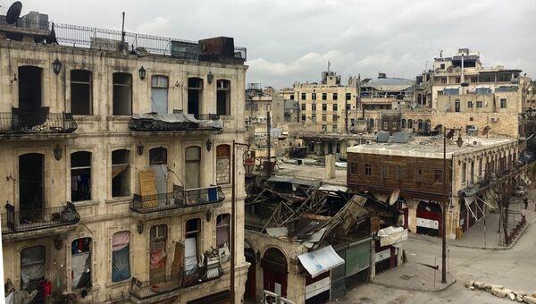 В историческом центре в Алеппо. Архивное фото