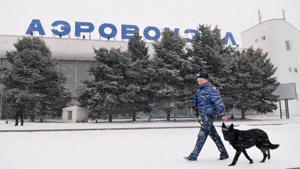 Сотрудник правоохранительных органов с собакой у здания аэропорта. Архивное фото
