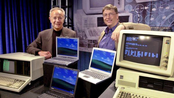 Эндрю Гроув, председатель правления Intel Corp. и Билл Гейтс, председатель правления и главный архитектор программного обеспечения в Microsoft Corp. 2001 год