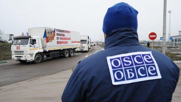Сотрудник ОБСЕ (Организации по безопасности и сотрудничеству в Европе) наблюдает за колонной конвоя с гуманитарной помощью. Архивное фото