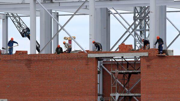 Строительство Стадиона Калининград к чемпионату мира по футболу 2018 года. Архивное фото