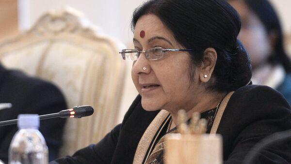 Министр иностранных дел Индии Сушма Сварадж на пленарном заседании глав МИД России, Индии и Китая (РИК)