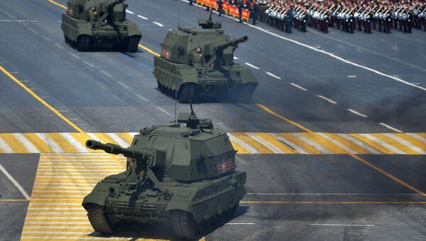 Самоходные артиллерийские установки (САУ) Коалиция-СВ во время военного парада