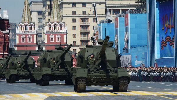 Самоходная артиллерийская установка (САУ) Коалиция-СВ во время военного парада. Архивное фото