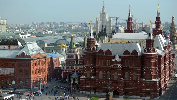 Вид на Исторический музей с крыши отеля Ritz-Carlton в Москве