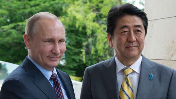 Президент России Владимир Путин и премьер-министр Японии Синдзо Абэ во время встречи в резиденции Бочаров ручей