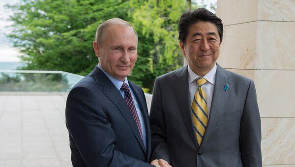 Президент России Владимир Путин и премьер-министр Японии Синдзо Абэ во время встречи в резиденции Бочаров ручей. Май 2016