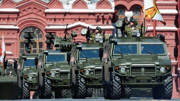 Бронеавтомобили Тигр во время военного парада на Красной площади в честь 71-й годовщины Победы в Великой Отечественной войне 1941-1945 годов.