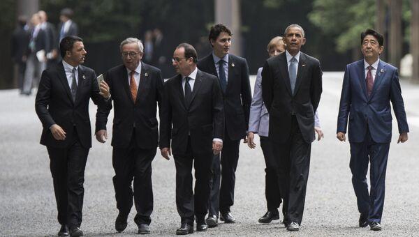 Лидеры стран Большой семерки во время саммита в районе Исэ-Сима японской префектуры Миэ. 26 мая 2016