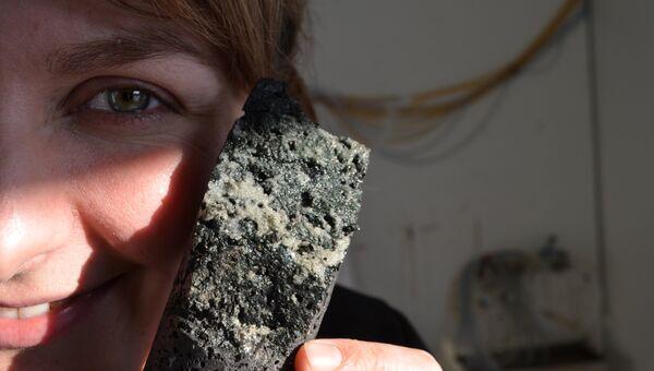 Участница эксперимента по поглощению углекислоты породами Гренландии держит кусок минерализованного СО2