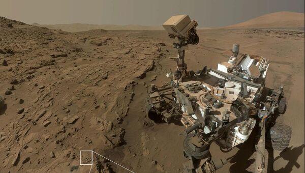Марсоход Curiosity изучает камни в местечке Винджана на Марсе