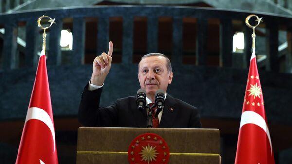 Президент Турции Тайип Эрдоган во время своего выступления в Анкаре, 27 июня 2016 года