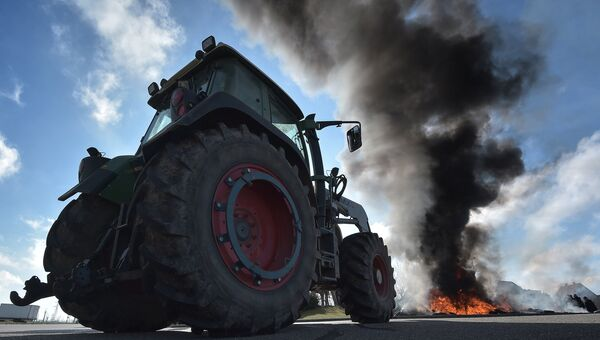 Протест французских фермеров против санкций в отношении России и роста цен на удобрения