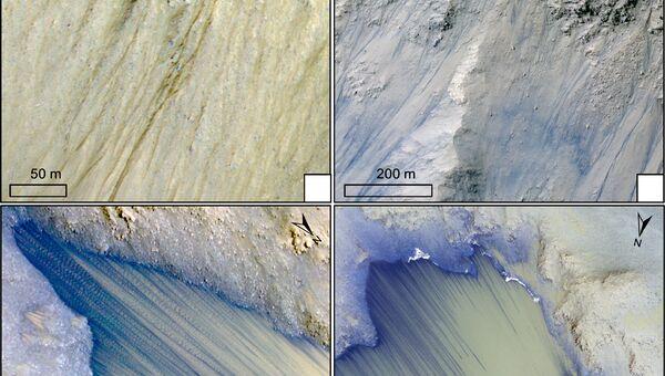 Темные линии, оставленные водой на поверхности Марса