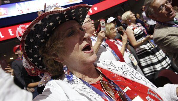 Делегаты во время общенационального съезда Республиканской партии в Кливленде