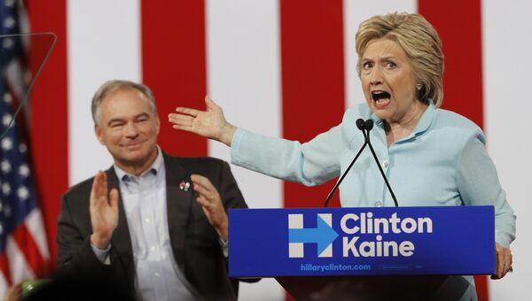 Кандидат в президенты США от Демократической партии Хиллари Клинтон и кандидат в вице-президенты Тим Кейн в Майами, штат Флорида. 23 июля 2016