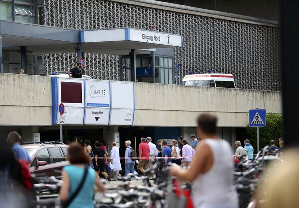 Полиция около университетской клиники в Штеглице где произошла стрельба. 26 июля 2016