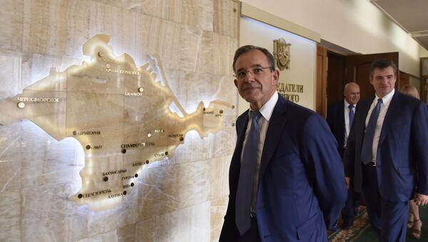 Депутат Национального собрания Франции Тьерри Мариани, глава делегации французских парламентариев, прибывшей с визитом в Симферопол