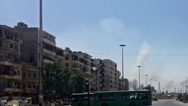Нанесение авиаударов по позициям террористов в южном квартале Алеппо