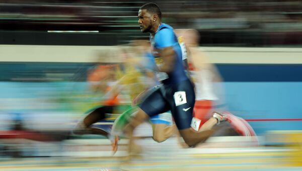 Американский спринтер, олимпийский чемпион 2004 года и 4-кратный чемпион мира Джастин Гэтлин. Архивное фото