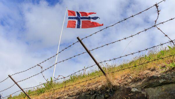 Флаг на норвежской границе. Архивное фото
