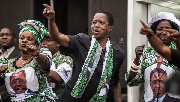 Президент Замбии Эдгар Лунгу во время предвыборной кампании в Лусаке. Архивное фото