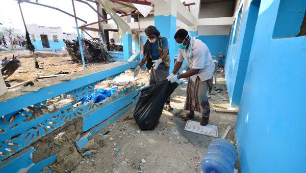 Больница пострадавшая от авиаудара в провинции Хаджа, Йемен. 16 августа 2016
