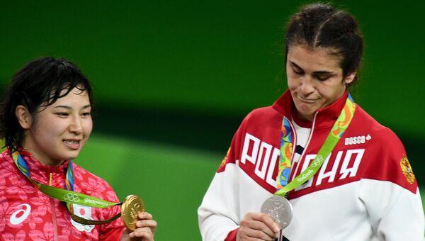 Наталья Воробьева (Россия) – серебряная медаль, Сара Досё (Япония) – золотая медаль.