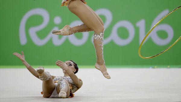 Спортсменки сборной России выступают в финале групповых соревнований по художественной гимнастике на XXXI летних Олимпийских играх. Архивное фото