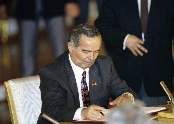 Президент Республики Узбекистан Ислам Каримов во время подписания межреспубликанского экономического договора в Кремле