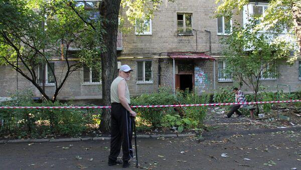 Жилое здание, поврежденное в результате обстрела Киевского района Донецка. Архивное фото
