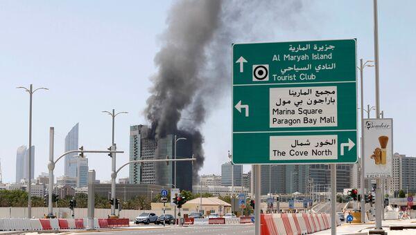 Пожар в строящемся здании в столице ОАЭ Абу-Даби