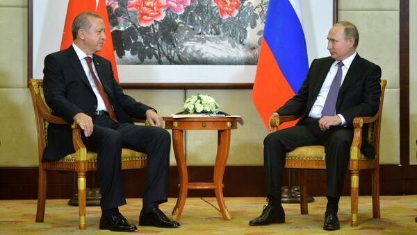 Президент РФ Владимир Путин во время встречи с президентом Турецкой Республики Реджепом Тайипом Эрдоганом