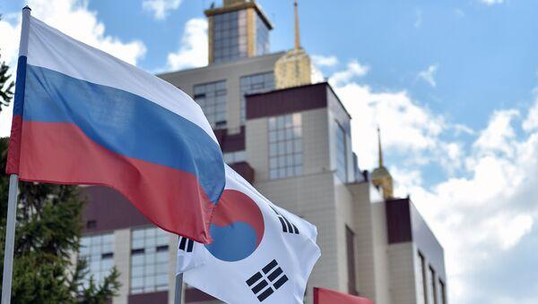 Флаги стран участниц Международного молодежного образовательного форума Евразия в Оренбурге
