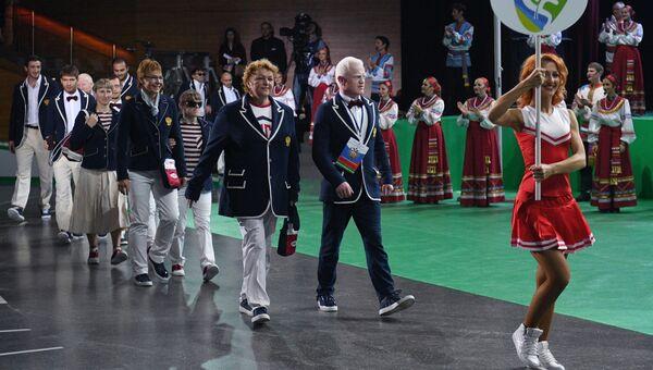 Спортсмены во время парада атлетов на церемонии открытия Всероссийских паралимпийских соревнований в концертном зале Крокус Сити Холл в Москве. Архивное фото