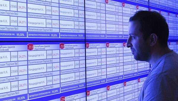 Информационное табло в ЦИК, которое будет использоваться для голосования на выборах в Госдуму