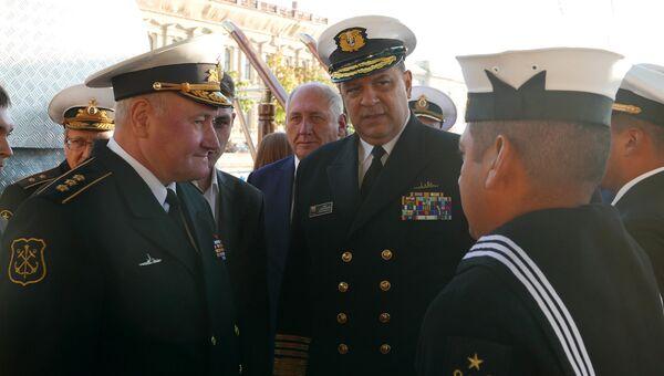 Главком ВМФ России Владимир Королев на встрече с командующим ВМС Колумбии. Архивное фото