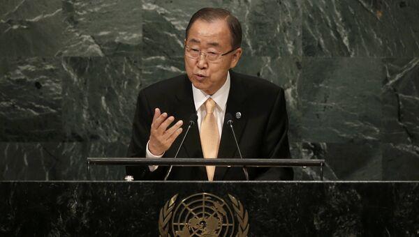 Генсек ООН Пан Ги Мун выступает на Генеральной Ассамблеи ООН в США. Архивное фото