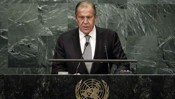 Глава МИД РФ Сергей Лавров во время выступления на Генассамблее ООН. Архивное фото