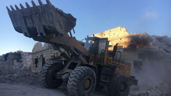 Бульдозер сирийской армии в Алеппо. Архивное фото