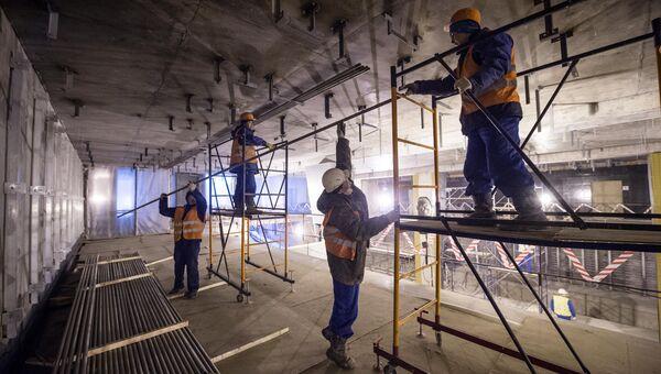 Отделочные работы на станции метро Петровский парк, которая будет интегрирована со станцией Динамо. Архивное фото