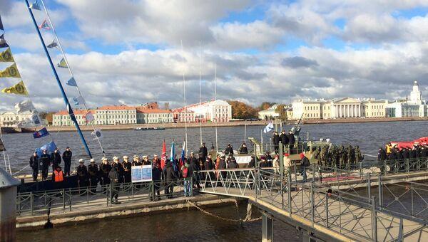 Торжественная церемония присвоения наименования Юнармеец Балтики новейшему патрульному  катеру Раптор в Санкт-Петербурге.