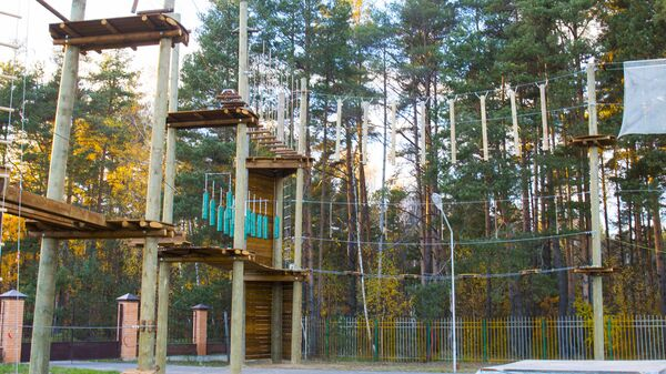 Веревочный парк в реабилитационном центре для детей, перенесших тяжелые заболевания Шередарь
