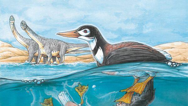 Птица Vegavis iaai у берегов древней Антарктиды