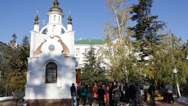 Часовня в честь святых царственных страстотерпцев государя Николая II и его семьи у здания крымской прокуратуры в Симферополе