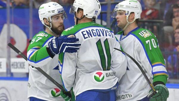 Игроки Салавата Юлаева радуются забитому голу в матче регулярного чемпионата Континентальной хоккейной лиги. Архивное фото
