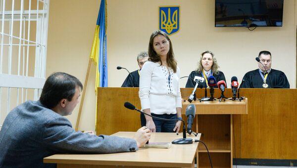 Сестра Надежды Савченко Вера Савченко во время допроса в Подольском районном суде Киева по делу против Игоря Плотницкого